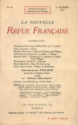 La Nouvelle Revue Française (1908-1943) N° 14, février 1910 Charles-Louis Philippe
