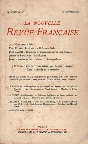 La Nouvelle Revue Française (1908-1943) N° 145 octobre 1925