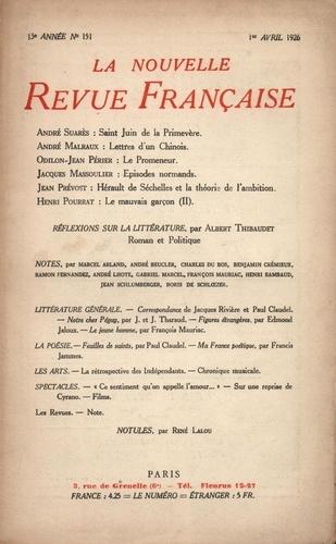 La Nouvelle Revue Française (1908-1943) N° 151 avril 1926