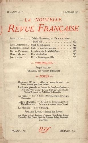 La Nouvelle Revue Française (1908-1943) N° 193 octobre 1929