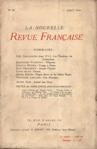 La Nouvelle Revue Française (1908-1943) N° 20 août 1910