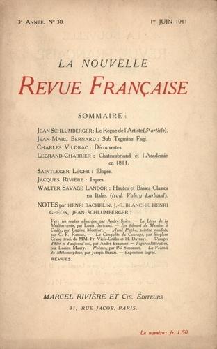 La Nouvelle Revue Française (1908-1943) N° 30 juin 1911