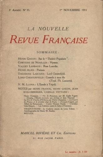 La Nouvelle Revue Française (1908-1943) N° 35 novembre 1911