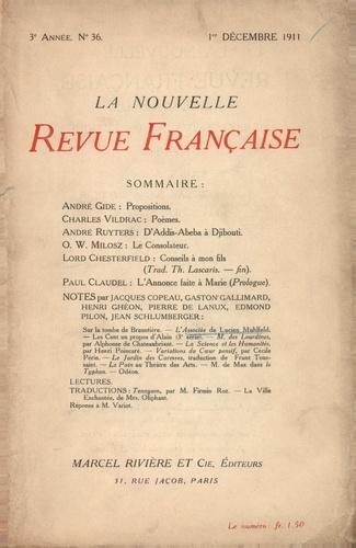 La Nouvelle Revue Française (1908-1943) N° 36 décembre 1911
