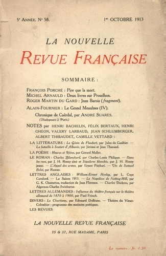 La Nouvelle Revue Française (1908-1943) N° 58 octobre 1913