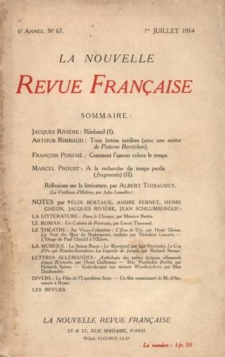 La Nouvelle Revue Française (1908-1943) N° 67 juillet 1914