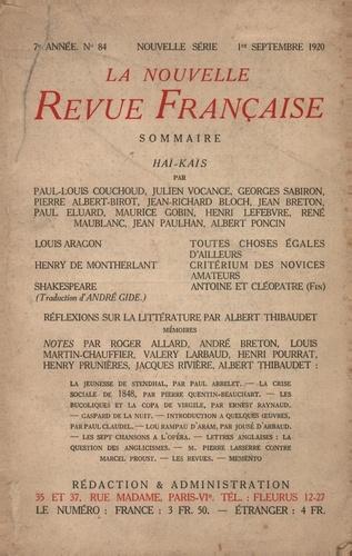 La Nouvelle Revue Française (1908-1943) N° 84 septembre 1920