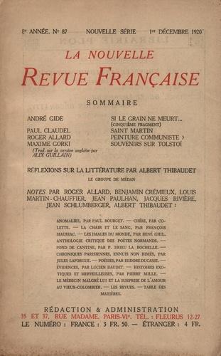 La Nouvelle Revue Française (1908-1943) N° 87 décembre 1920