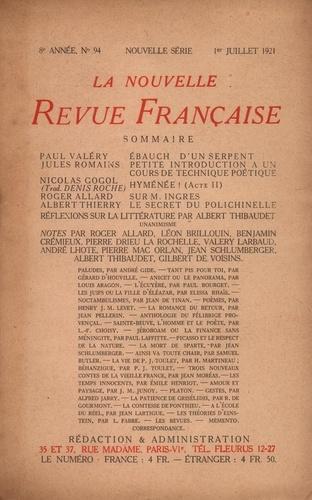 La Nouvelle Revue Française (1908-1943) N° 94 juillet 1921