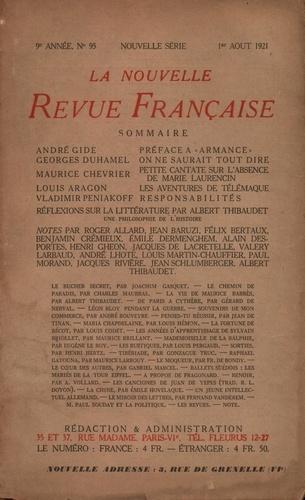 La Nouvelle Revue Française (1908-1943) N° 95 août 1921
