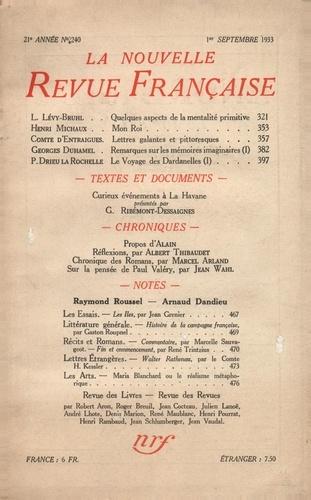 La Nouvelle Revue Française (1908-1943) N° 240 sept 1933
