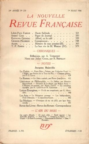 La Nouvelle Revue Française (1908-1943) N° 270 mars 1936