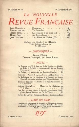 La Nouvelle Revue Française (1908-1943) N° 276 sept 1936