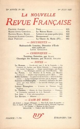 La Nouvelle Revue Française (1908-1943) N° 285 juin 1937