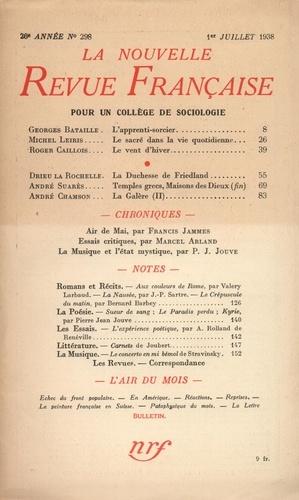 La Nouvelle Revue Française (1908-1943) N° 298 juillet 1938