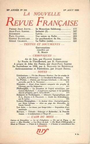 La Nouvelle Revue Française (1908-1943) N° 299 août 1938