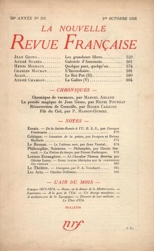 La Nouvelle Revue Française (1908-1943) N° 301 octobre 1938
