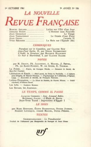 La Nouvelle Revue Française N° 106 octobre 1961