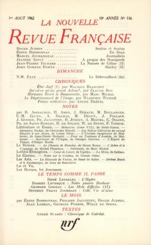 La Nouvelle Revue Française N° 116, août 1962