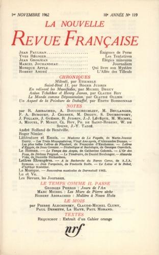 La Nouvelle Revue Française N° 119 novembre 1962