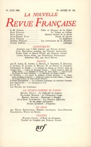 La Nouvelle Revue Française N° 126, juin 1963
