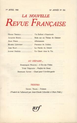 La Nouvelle Revue Française N° 184, avril 1968