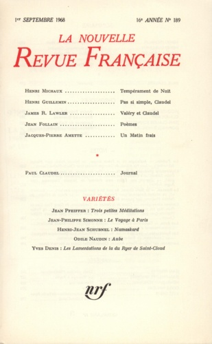 La Nouvelle Revue Française N° 189 sept 1968