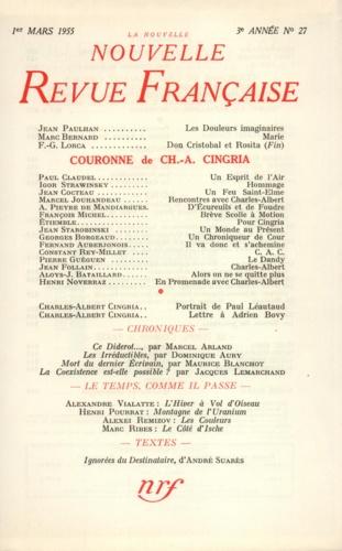 La Nouvelle Revue Française N° 27, mars 1955