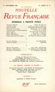 Gallimard - La Nouvelle Revue Française N° 45 sept 1956 : Hommage à Francis Ponge.