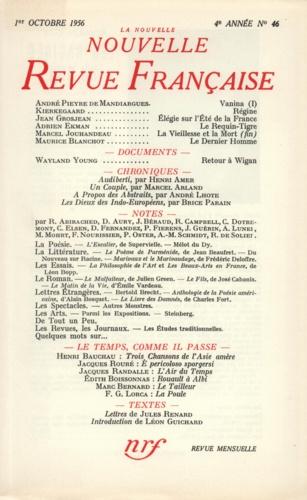 La Nouvelle Revue Française N° 46, octobre 1956