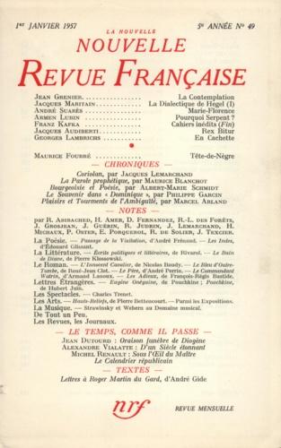 La Nouvelle Revue Française N° 49, janvier 1957