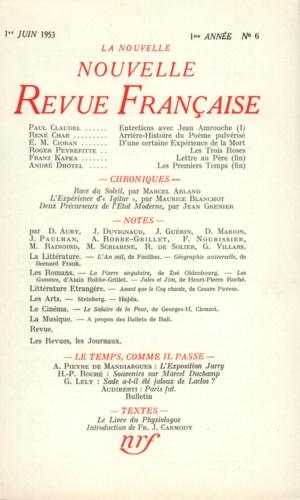 La Nouvelle Revue Française N° 6, juin 1953