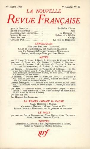 La Nouvelle Revue Française N° 80, aout 1959