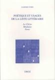 Gaspard Turin - Poétique et usages de la liste littéraire - Le Clézio, Modiano, Perec.