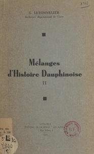 Gaston Letonnelier - Mélanges d'histoire dauphinoise (2).