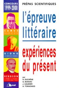 Galabria.be L'EPREUVE LITTERAIRE. Expériences du présent, Concours 1999-2000 Image