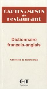 Geneviève de Temmerman - Cartes et menus de restaurant - dictionnaire français-anglais.