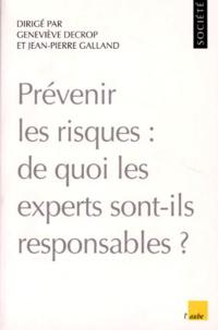 PREVENIR LES RISQUES. De quoi les experts sont-ils responsables ? - Geneviève Decrop pdf epub
