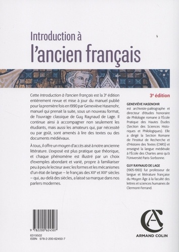 Introduction à l'ancien français 3e édition