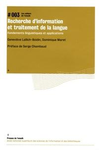 Geneviève Lallich-Boivin et Dominique Maret - Recherche d'information et traitement de la langue - Fondements linguistiques et applications.