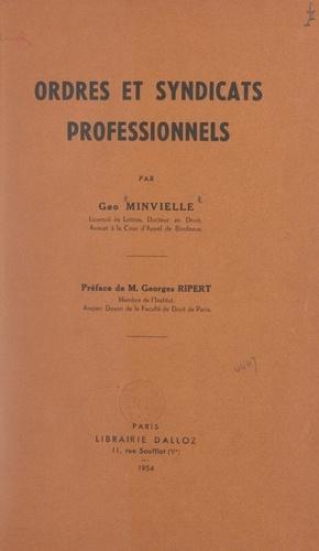 Ordres et syndicats professionnels