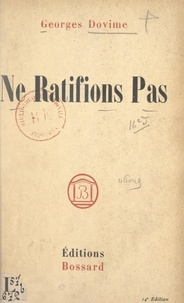 Georges Dovime - Ne ratifions pas.