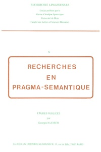 Georges Kleiber - Recherches en pragma-sémantique.