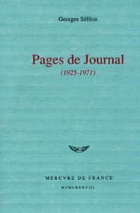 Georges Séféris - Pages de journal (1925-1971).
