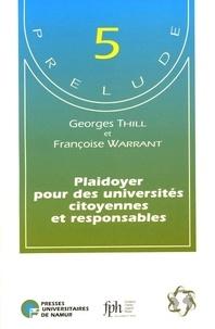 Georges Thill et Françoise Warrant - Plaidoyer pour des universités citoyennes et responsables.