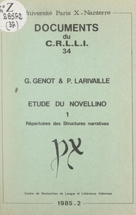 Gérard Genot et Paul Larivaille - Étude du Novellino (1). Répertoires des structures narratives.
