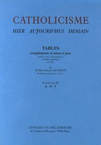Gérard Mathon - Catholicisme hier, aujourd'hui, demain - Fascicule 82, Tables Q-R-S.
