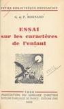 Germaine Mornand et Pierre Mornand - Essai sur les caractères de l'enfant.