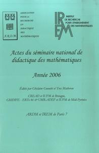 Ghislaine Gueudet - Actes du séminaire national de didactique des mathématiques - Année 2006.