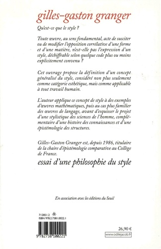 Essai d'une philosophie du style  édition revue et corrigée